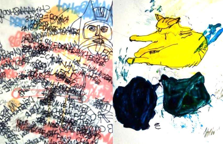 Deux oeuvres de l'exposition, une abstraite et l'autre représente un chat.