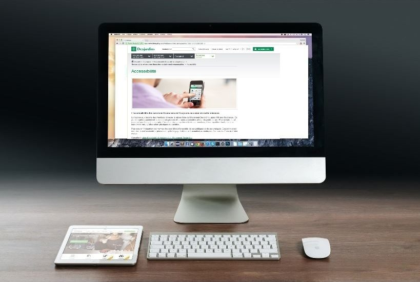 La page Accessibilité de Desjardins sur un écran d'ordinateur.