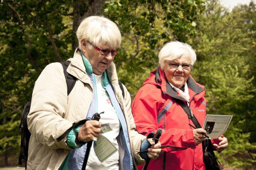 Deux dames âgées marchent en forêt. Une d'elles utilise des bâtons de marche et l'autre tient un guide.