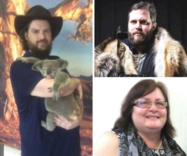 Montage de trois photos: Paul-André tenant un koala, Vincent déguisé en Vicking et Yvonne au bureau.