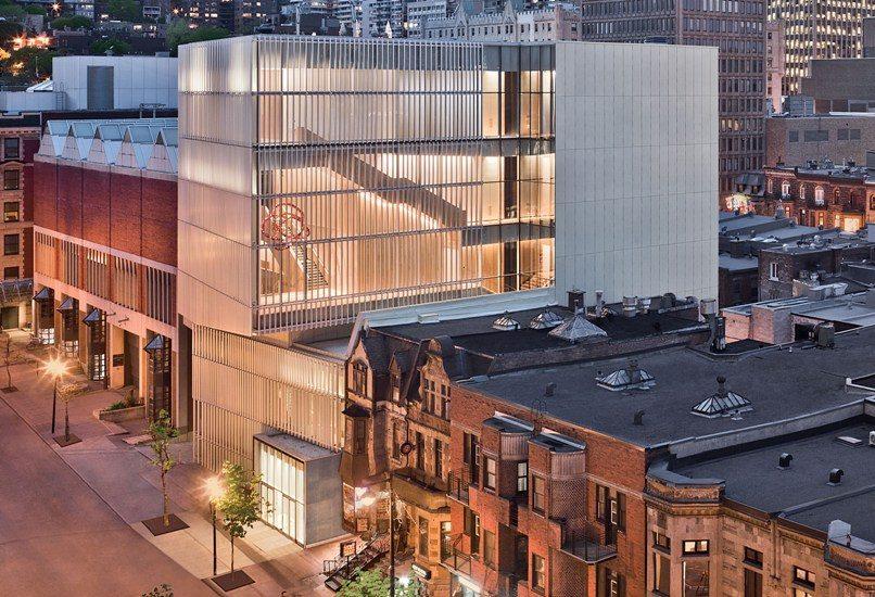 Vue extérieure du Pavillon pour la paix du Musée des beaux-arts de Montréal.