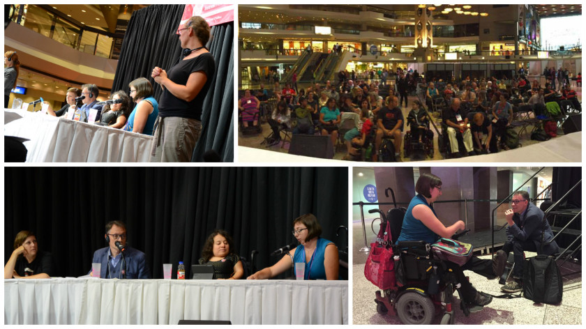 Différentes photographies de la grande conférence sur la capacitisme et l'audisme.