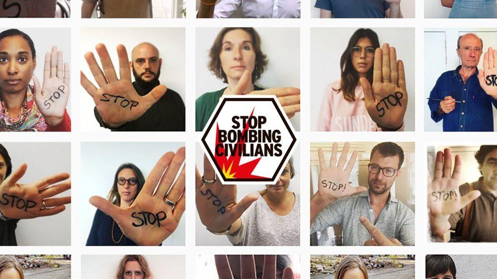 Mosaïque de personnes qui ont écrit le mot «stop» sur leurs mains.