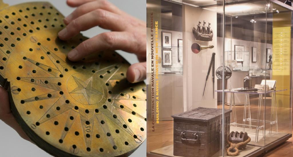À droite, une main touche un objet de navigation. À droite, une vue de l'exposition Les chapitres de notre histoire.