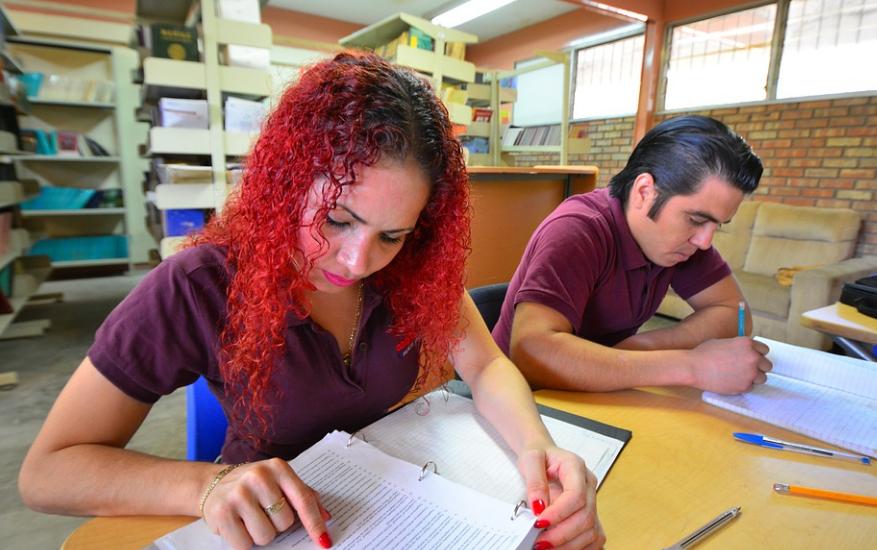 Une jeune fille au cheveux rouge et un jeune garçon aux cheveux foncés étudient dans une bibliothèque.