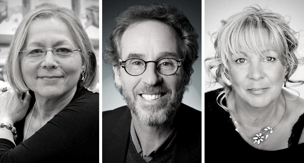Photos portratis en noir et blanc de Élisabeth Vonarburg, Marc Britan et Louise Tremblay d'Essiambre.