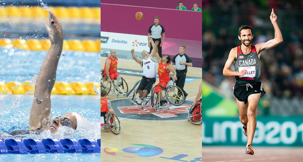 Montage photo de Camille Bérubé dans l'eau, un match de basket Canada vs Espagne, et Guillaume Ouellet qui court